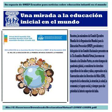 DECLARACIÓN de la Asamblea Mundial Virtual de la OMEP, 28 de Noviembre 2020
